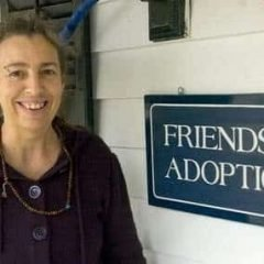 Dawn Smith-Pliner, founder of the nontraditional adoption agency Friends in Adoption, poses next to her office in Middletown Springs last week. Photo by Cassandra Hotaling