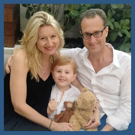 Images of Nicola, Jonathan, and Sebastian. They are a loving family looking to adopt a baby.