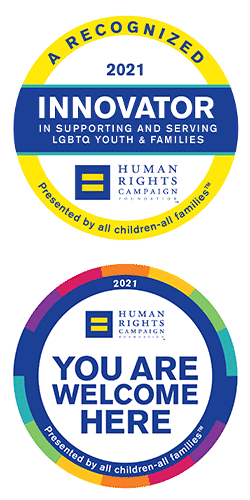 HRC Innovator and You Are Welcome Here logos